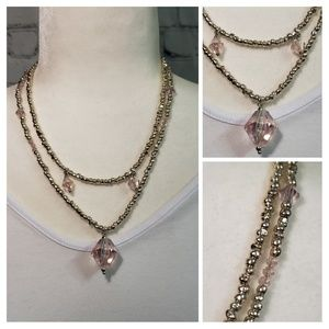 Handmade Silver & Pink Crystal Necklace